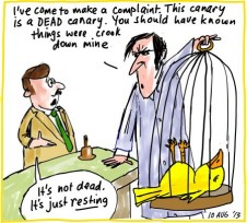 Mining gold copper iron dead canary parrot Monty Python business cartoon 2013-08-10