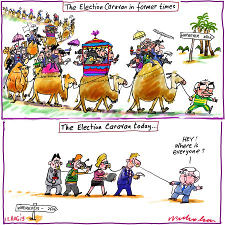 Election caravan has changed Media cartoon 2013-08-12