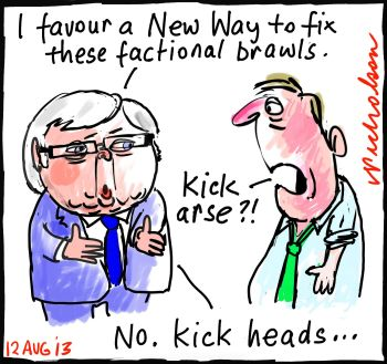 Factional brawl Rudd wants New Way cartoon 2013-08-12