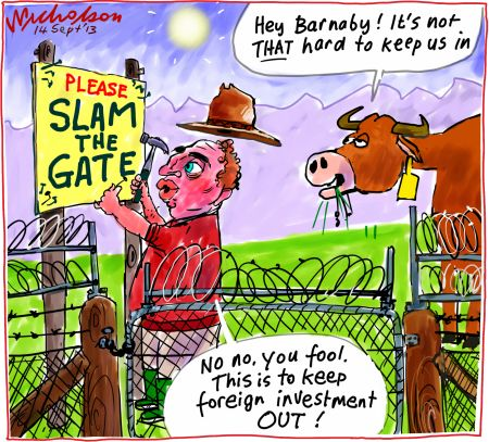 Barnaby Joyce selling off the farm foreign investment National Party cartoon 2013-09-14