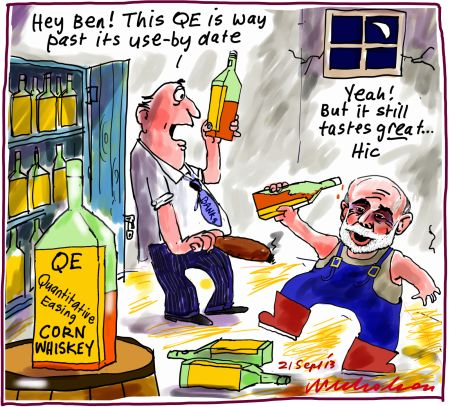 Quantitative Easing QE binge Ben Bernanke corn whisky business cartoon 2013-09-21