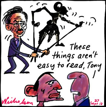 Abbott crossed wires Indonesia shadow puppets cartoon 2013-09-27