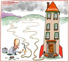 Reserve Bank low interest rates may ignite housing bubble Business cartoon 2013-09-28