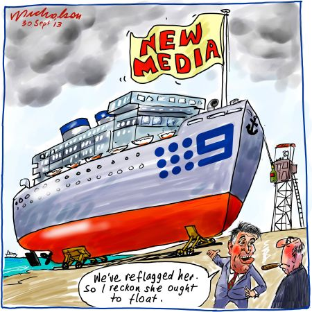 Channel 9 new identity as New Media float coming Media cartoon 2013-09-30