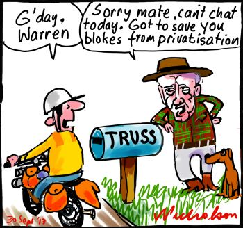 Privatisation Libs yes Nats no Truss cartoon 2013-09-30