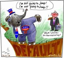 Debt ceiling President Obama vs Congress Republicans default brinkmanship Business cartoon 2013-10-05