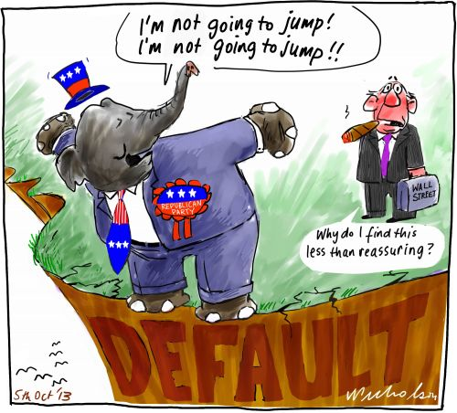 Debt ceiling President Obama vs Congress Republicans default brinkmanship Business cartoon 2013-10-05