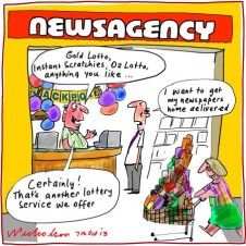 Newsagencies branch out gambling struggle with newspaper core business Media cartoon 2013-10-07