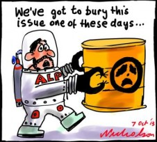 ALP where to bury uranium debate cartoon 2013-10-07