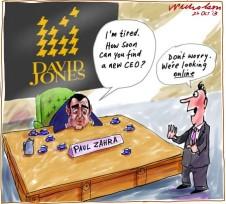 Paul Zahra tired at DJs David Jones online cartoon 2013-10-26