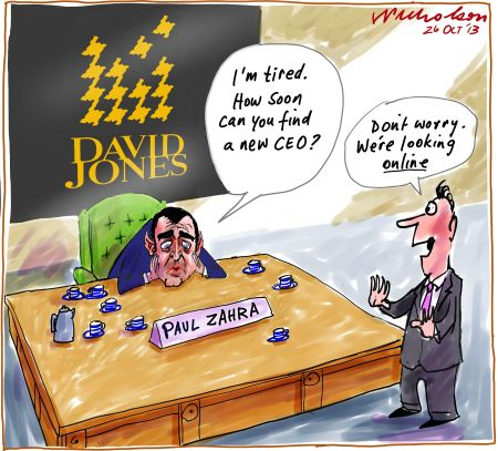 Paul Zahra tired at DJs David Jones online cartoon 2013-10-26