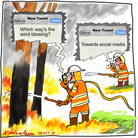NSW bushfires firefighters and public communicate via Twitter 2013-10-28