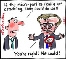 Possible new senate election for WA Shorten faces dilemma micro-parties in there too cartoon 2013-11-04