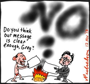 Abbott Hunt send message to world on greenhouse smoke signal cartoon 2013-11-12