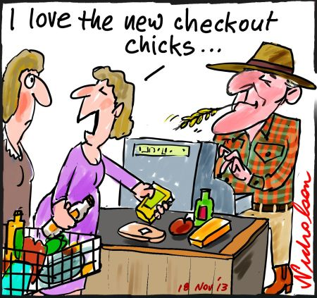 Supermarkets buying rules to limit oppressive deals for suppliers farmers cartoon 2013-11-18