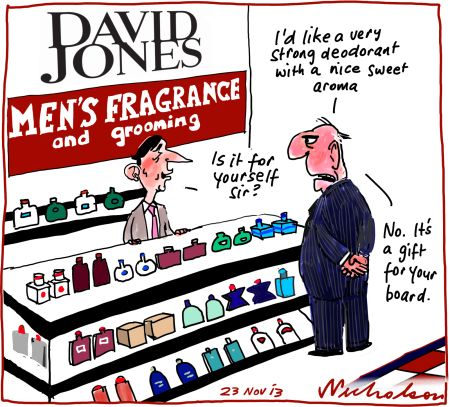 David Jones AGM First strike on board shareholders not happy business cartoon 2013-11-23