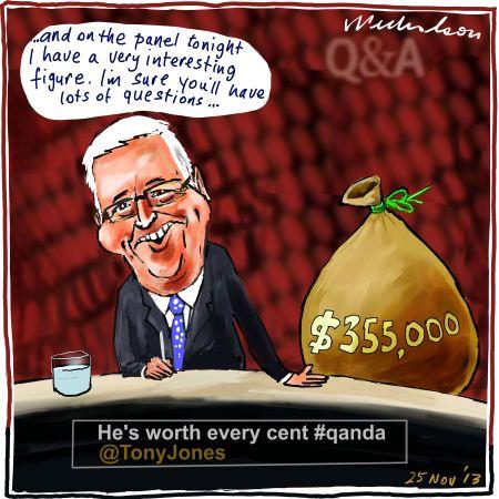 Tony Jones ABC pay packet QUANDA media cartoon 2013-11-25