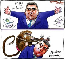 Joe Hockey on Graincorp ADM open for #business monkey cartoon 2013-11-30