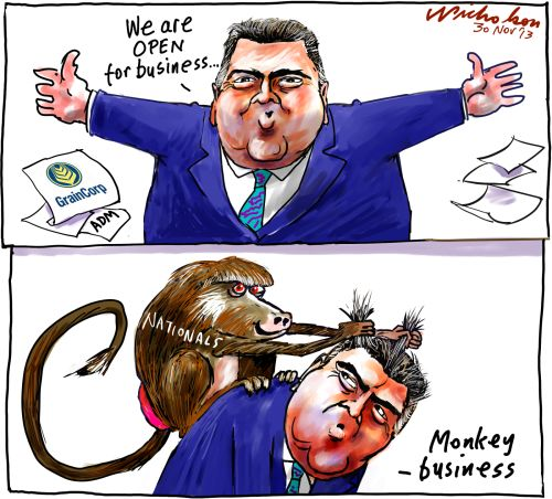 Joe Hockey on Graincorp ADM open for #business monkey cartoon 2013-11-30
