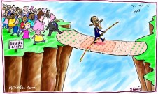 Obama temporarily averts Fiscal Cliff cartoon 2013-12-02