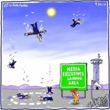 Media executives fall to earth Icarus media cartoon 2013-12-09