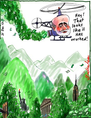 Bernanke taper Quantitative Easing to continue cartoon Business 2013-12-21