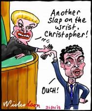 Christopher Pyne Bronwyn Bishop slap on wrist cartoon 2013-12-26
