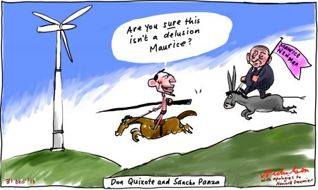 Don quixote aka Tony Abbott global warming windmill cartoon 2013-12-31
