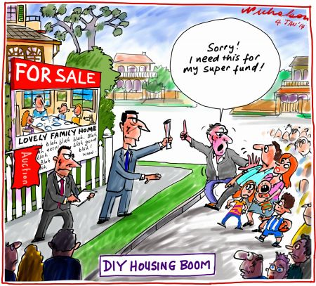 DIY Super creates housing boom Business cartoon 2014-01-04