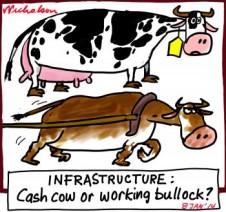 Iinfrastructure cash cow or working bullock cartoon 2014-01-08