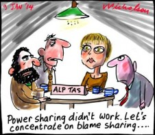 Tasmanian ALP vs Greens power sharing didn't work says ALP Greens should be blamed cartoon 2014-01-09