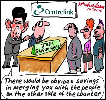 Kevin Andrews savings merge two departments public service cuts cartoon 2014-01-14