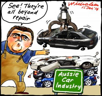 Joe hockey squash cars GMH Toyota Ford cartoon 2014-01-15