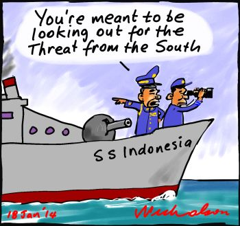 Indonesia border protection switch from north to south cartoon 2014-01-18 350