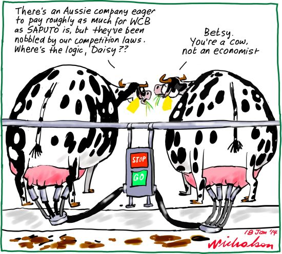 Warrnambool Cheese and Butter Competition regime Business cartoon 2014-01-18