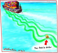 Aussie dollar bobs up and down in wake of China economy's  fluctuations Business cartoon 2014-01-25