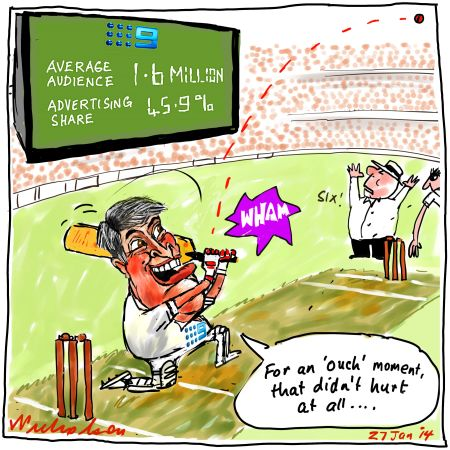 Gyngell Channel 9 hits six with expensive cricket rights as Aussies crush England in Ashes Media cartoon 2014-01-27
