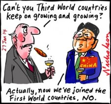 Instability in share market as world's grwoing economies falter Quantatative Easing  Business cartoon 2014-01-27