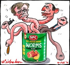 SPC Ardmona Union agreement can of worms cartoon 2014-02-04