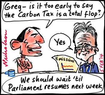 Emissions flop too early to talk Abbott Hunt cartoon 2014-02-05