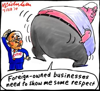 Clive Palmer speaks to Citic cartoon 2014-02-07