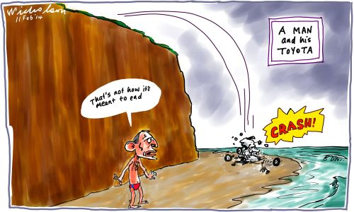Toyota to close in Australia man truck Abbott cartoon 2014-02-11