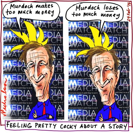 #PaulBarry on #MediaWatch critical of #TheAustralian #ChrisMitchell and #RupertMurdoch for losing money #media #cartoon