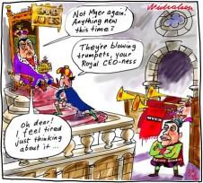 Myer tilt at David Jones Paul Zahra tired Bernie Brookes Business cartoon 2014-02-22