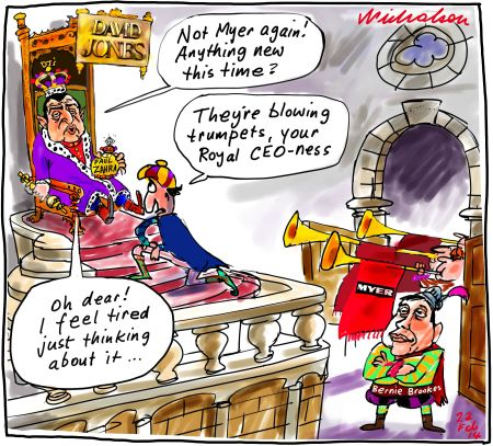 Myer tilt at David Jones Paul Zahra tired Bernie Brookes Business cartoon 2014-02-22