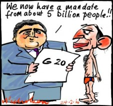 Hockey claims G20 gives him enormous awesome mandate cartoons 2014-02-24