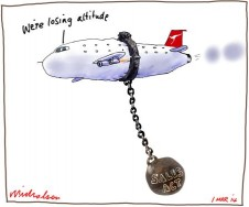 Qantas struggles Cabinel split on foreign investment in Qantas rewrite Sale Act busimess cartoon 2014-03-01