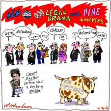ABC has 9 lawyers in court legal drama The Chaser The australian's Chris Kenny Andrew Hansen cartoon dog 2014-03-10