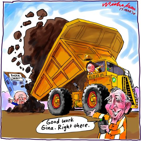 Rinehart Singo dump on Corbett Fairfax Media cartoon 2014-03-17