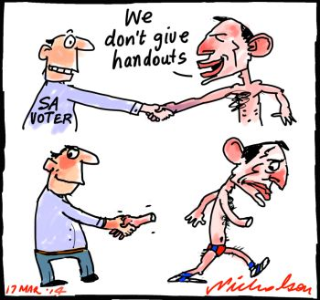Abbott and South Australia election handouts voter reation cartoon 2014-03-17